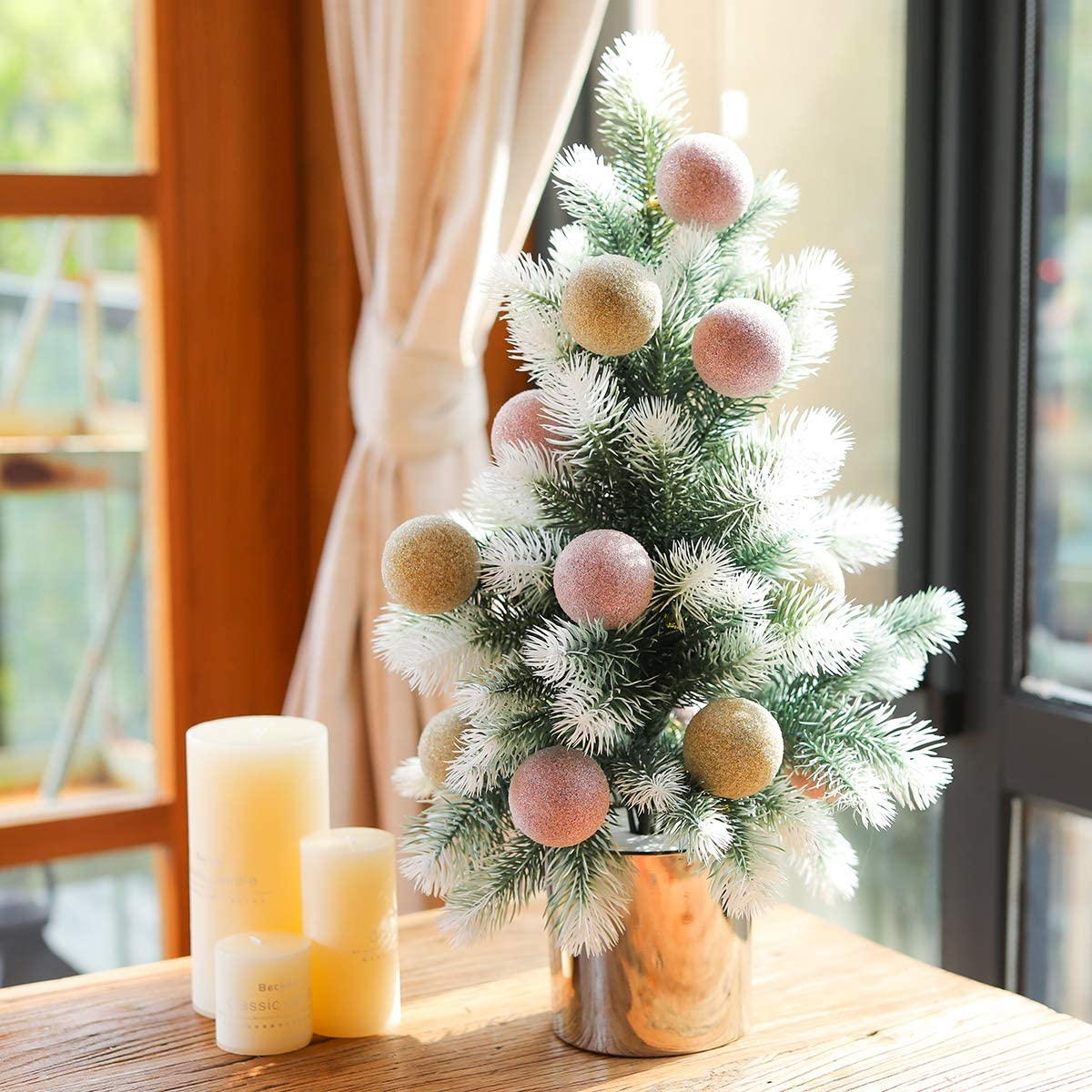 "PARTY JOY 23"" Artificial Mini Christmas Tree Small Pine Tree Tiny Christmas Tree Tabletop Includes Pots Christmas Ball for Holiday Crafts (White-Pink Champagne Gold)"