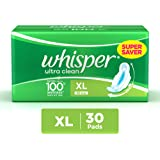 Whisper Ultra Clean Sanitary Pads XL Wings - 30 Piece Pack