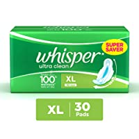 Whisper Ultra Clean Sanitary Pads XL wings (30 Count)