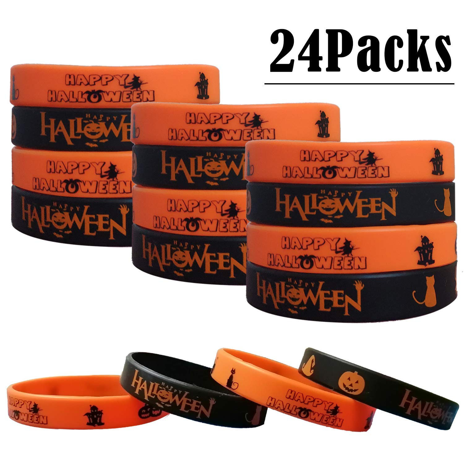 Halloween Party Supplies Trick or Tread Gifts//Goodie Bag Stuffers Silicone Wristbands 24PCS Halloween Party Favors Rubber Bracelets