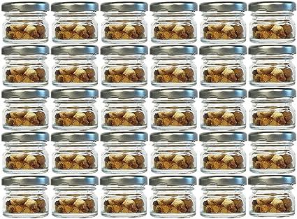 miele Set di 30 mini vasetti rotondi in vetro da 30 ml dotati di coperchio di colore argento ecc. ideali per conservare marmellate frutta secca