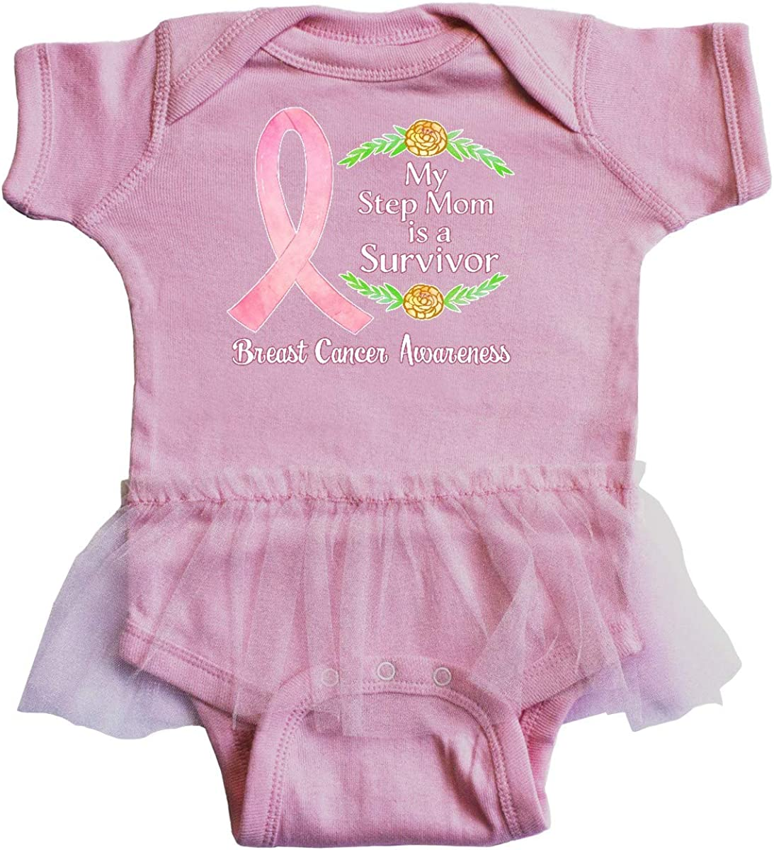 inktastic My Step Mom is a Survivor Breast Cancer Awareness Infant Tutu Bodysuit