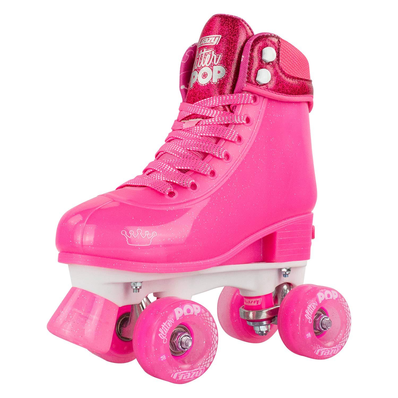 Crazy Skates Adjustable Roller Skates for Girls and Boys - Glitter Pop Collection - Pink (Sizes jr12-2)