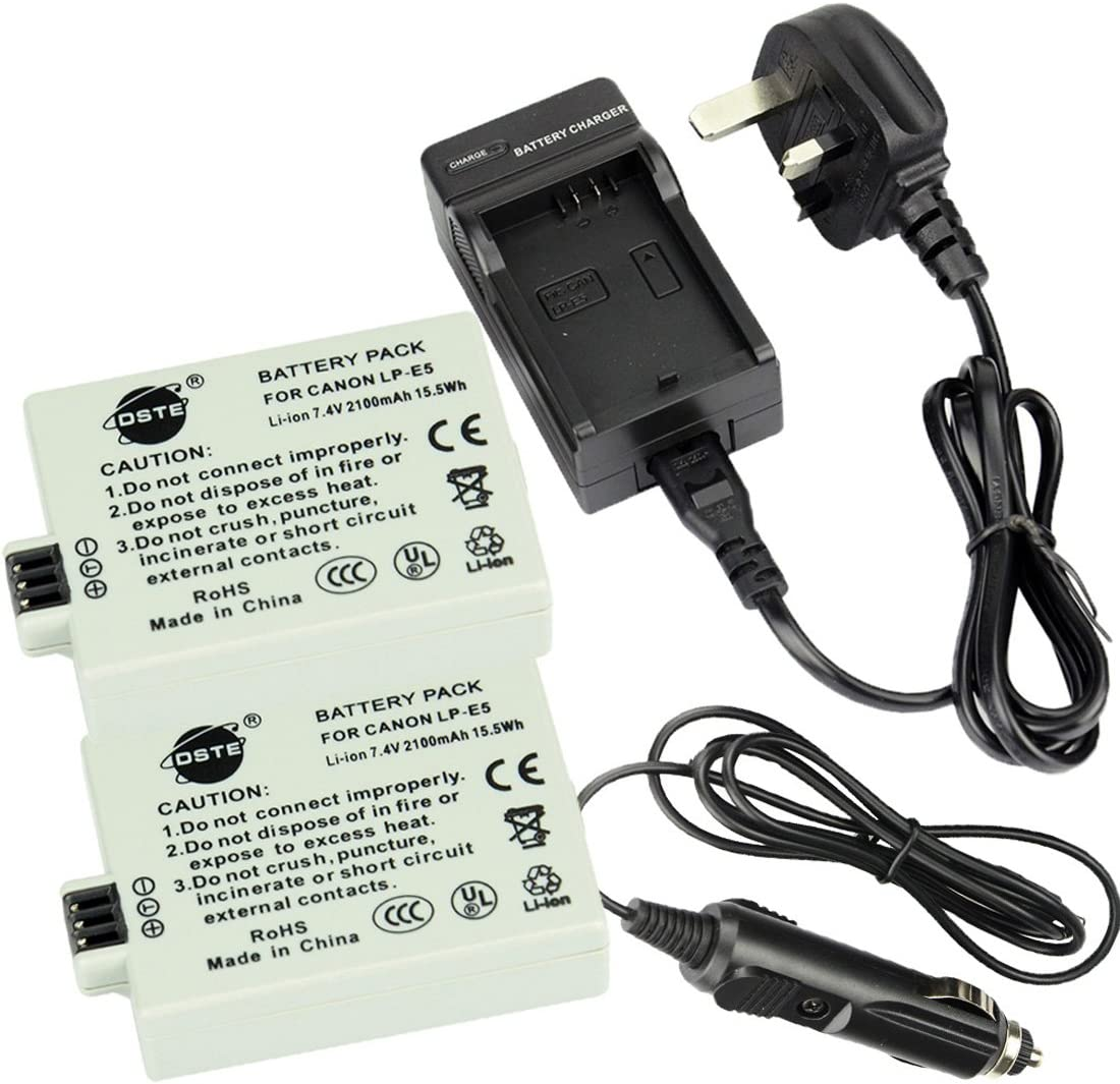 DSTE/® 2x LP-E5 Rechargeable Li-ion Battery DC27U Travel and Car Charger Adapter for Canon EOS 450D 500D 1000D Kiss F X2 X3 Rebel XS XSi T1i Digital Camera