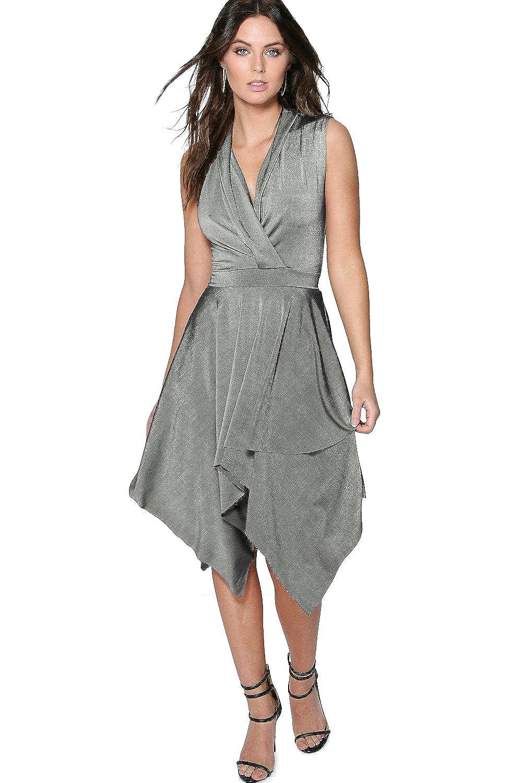 Black Womens Jane Textured Slinky Hanky Hem Wrap Dress