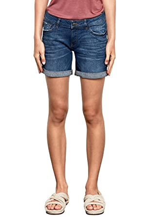 f3cdfd7b62fc8e Q/S Designed by Damen Abby Regular: Denim Shorts Blue Denim Heavy Stone  Washed