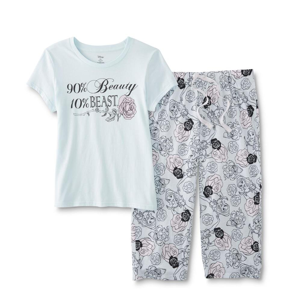 Disney Women's Princess Funny Character Pajama Tee Capri Pants Sleepwear Set (Beauty Beast Teal, M)