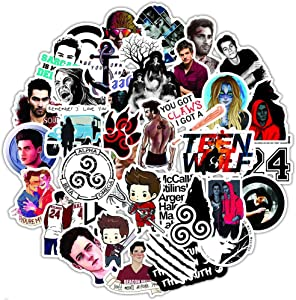 50 Pcs Funny Aesthetic Stickers for Teen Wolf,Funny Waterproof Stickers for Waterbottle Laptop Computer MacBook Pad Phone Flasks Car Bike,Trendy Vinyl Stickers for Kids Boys Teens Girls