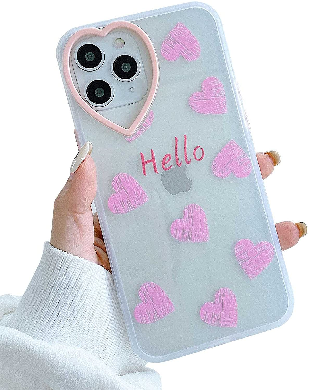 KERZZIL Cute Love-Hearts Pattern iPhone 11 Pro Max Case Clear for Women Girls, Slim Soft TPU Silicone Shockproof Protective Cases Cover Compatible with Apple iPhone 11 Pro Max 6.5-inch(Pink)