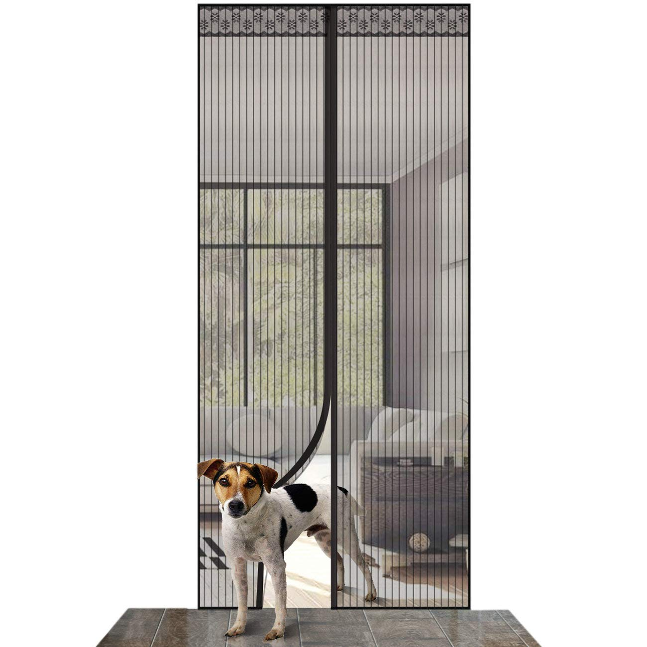 ASXON Magnetic Screen Door with Mesh Curtain to Keep Bugs Out Door with Full Frame Velcro 39'' x 83''