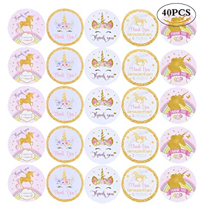 CCINEE Magical Unicorn Glitter Stickers Thank you Rainbow Christmas New Year Party Gift Label Stickers for Kids 40 Pack: Toys & Games