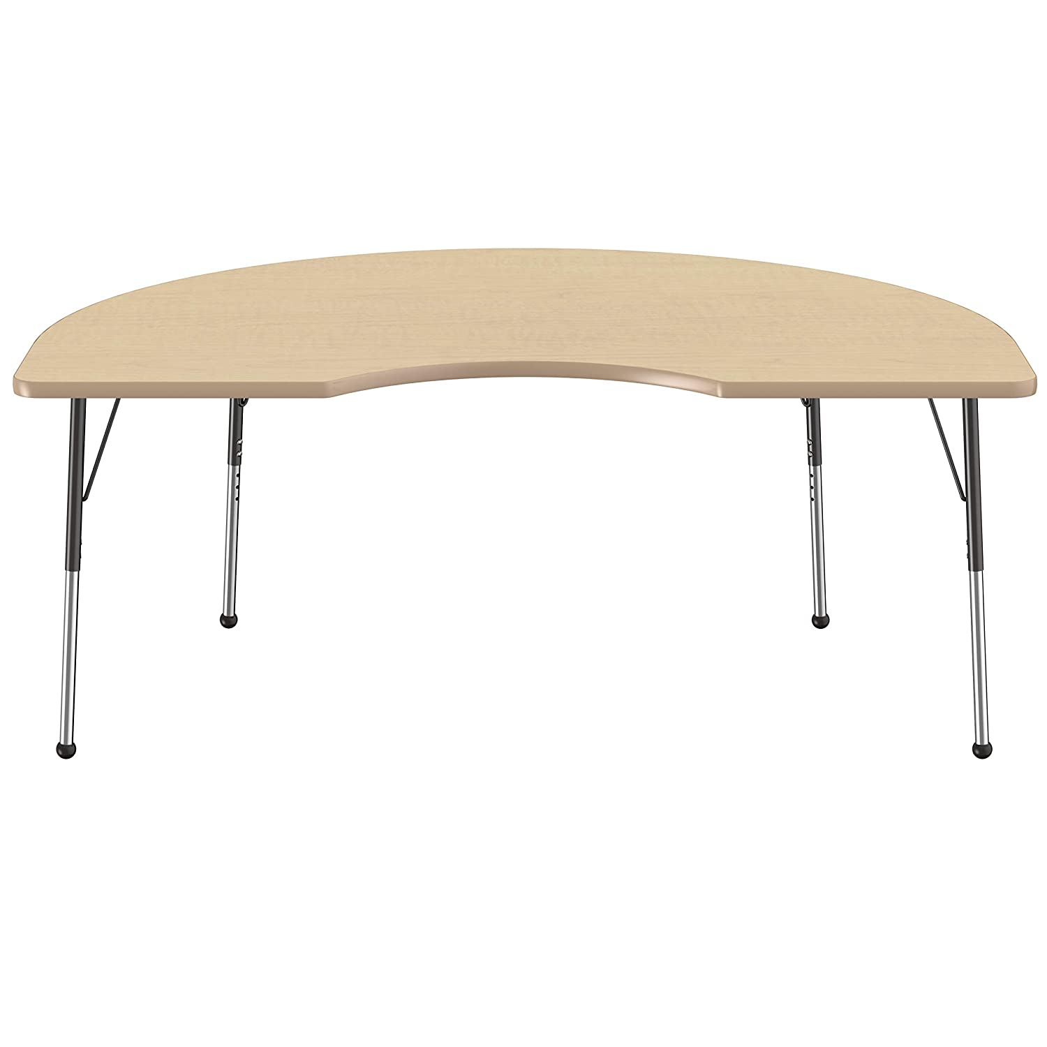 Maple Top and Navy Edge Standard Legs with Swivel Glides for Collaborative Seating Environments Adjustable Height 19-30 inches 48 x 72 inch FDP Kidney Activity School and Office Table