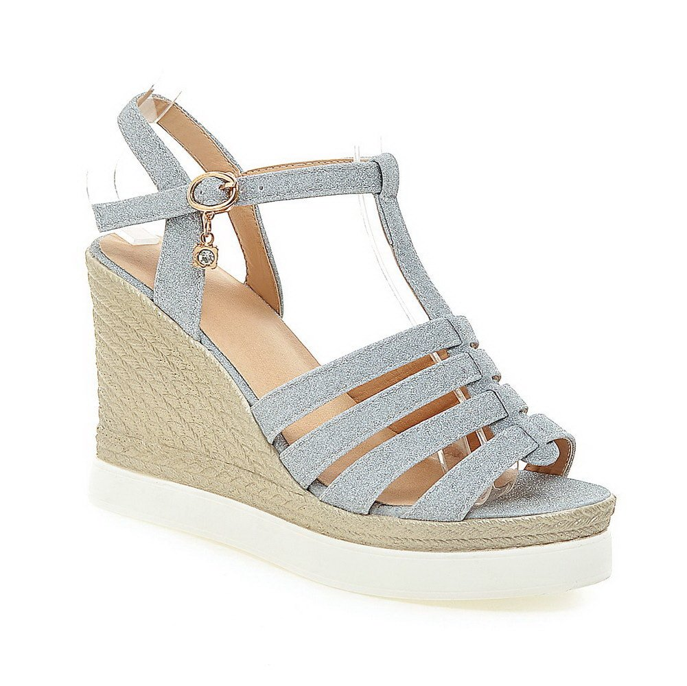 AmoonyFashion Women's Buckle High Heels Frosted Solid Open Toe Sandals, Blue, 34 by AmoonyFashion