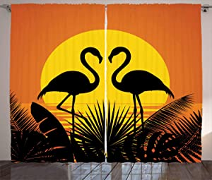 Ambesonne Tropical Curtains, Sunset View with Romantic Flamingos Over Plants Horizon Landscape, Living Room Bedroom Window Drapes 2 Panel Set, 108