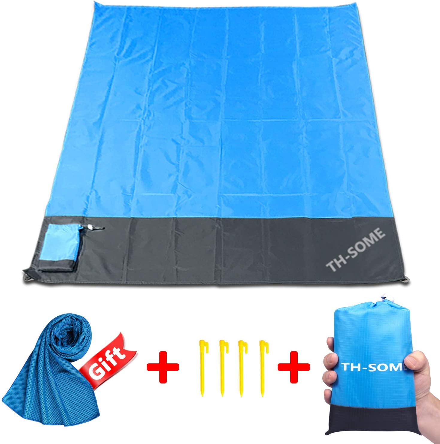 Th-some Manta Picnic Playa Impermeable Alfombra Playa 200 * 140cm + Enviar Toalla de Microfibra, Esterilla Playa Plegable portátil Anti-Arena Manta Ideal para La Picnic, Viaje