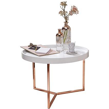 Finebuy Couchtisch Evi 58 5x42x58 5cm Weiß Kupfer Sofatisch Metall Rund Designer Retro Wohnzimmertisch Modern Kleiner Loungetisch Mit