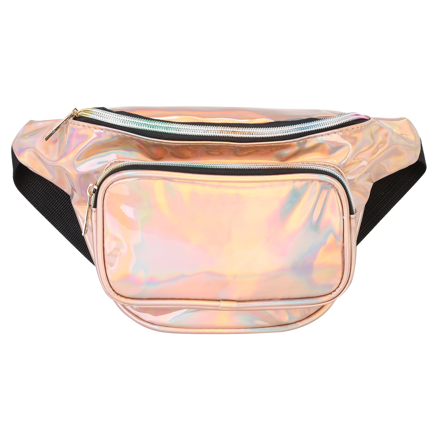 Promover Hologram Water Resistant Shiny Neon Fanny Bag for Women Rave Festival Bum Travel Waist Pack(Champagne Gold)