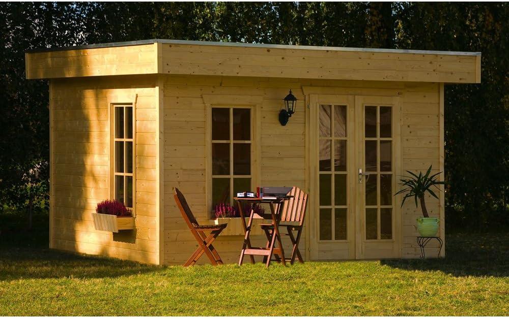 Habitat y jardín – Abrigo jardín madera Breda – 11.40 M² – 3.80 X 3.00 x 2.55 M – 28 mm: Amazon.es: Jardín