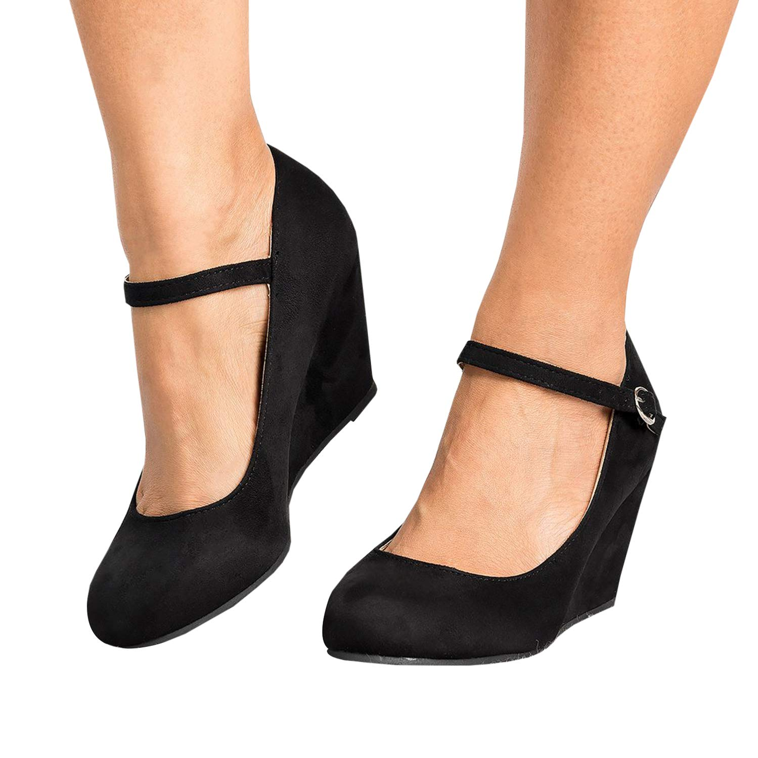 Black Womens Mary Jane Wedge Pumps Closed Toe Ankle Strap Mid Heel Office Work shoes
