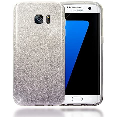 134db9d9447d NALIA Coque Silicone pour Samsung Galaxy S7 Edge, Ultra-Fine Glitter Housse  Protection Slim