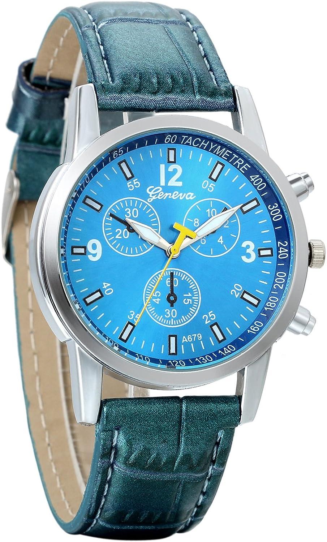 Reloj de Pulsera para Hombre, Vidrio BLU-Ray, Grande Reloj Analogico Cuarzo, Correa de Piel,Color Azul, Estilo Classic Casual Elegant, Avaner