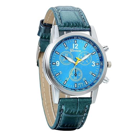 Reloj hombre avaner reloj pulsera reloj Digital gráfico analógica correa de piel pulsera reloj Sport hombre Azul: Amazon.es: Relojes