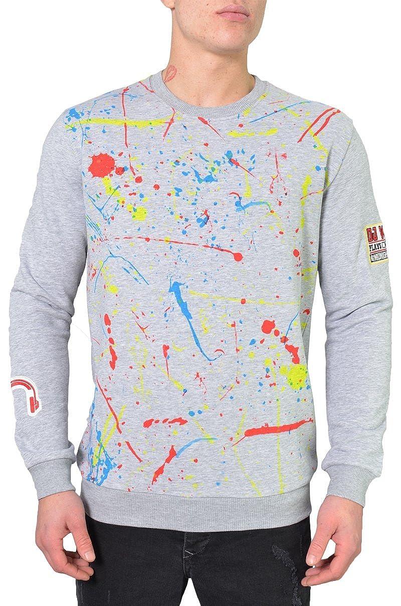 DJ Weiß Splatter Paint Sweater Grau