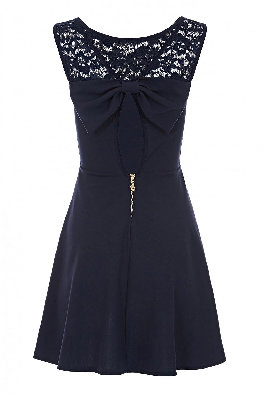 Laeticia Dreams Damen Kleid Mini mit Spitze und Schleife S M L ...