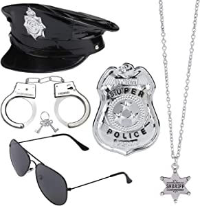 Beelittle Police Costume Accessories Police Hat Handcuffs Policeman Badge Police Officer Dress Up Costume Accessories for Cop Swat FBI Costume Party Halloween Role Play (Black 4)