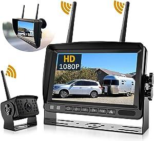 Wireless Backup Camera, DOUXURY IP69 Waterproof 170° Wide View Angle HD 1080P Backup Camera + HD LCD 7