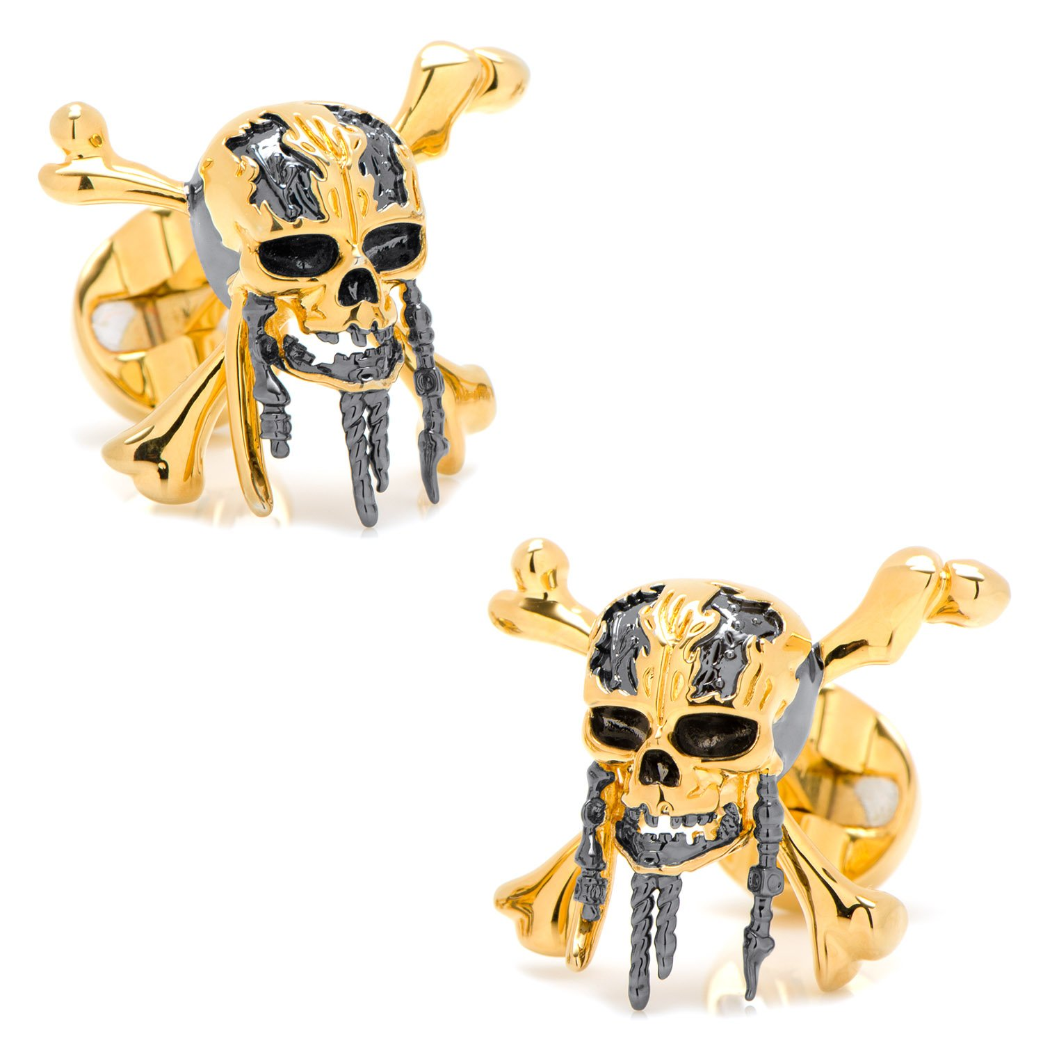 Disney 3D Black and Gold Skull and Crossbones Cufflinks, Officially Licensed by Cufflinks (Image #2)