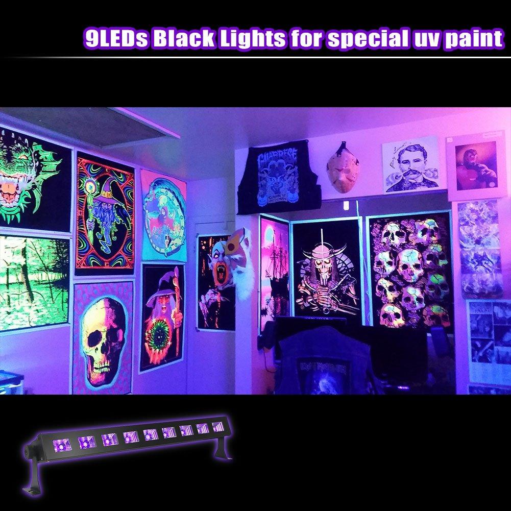 oppsk uv led bar with 9ledx3w black light metallic black oppsk uv led bar with 9ledx3w black light metallic black amazon com
