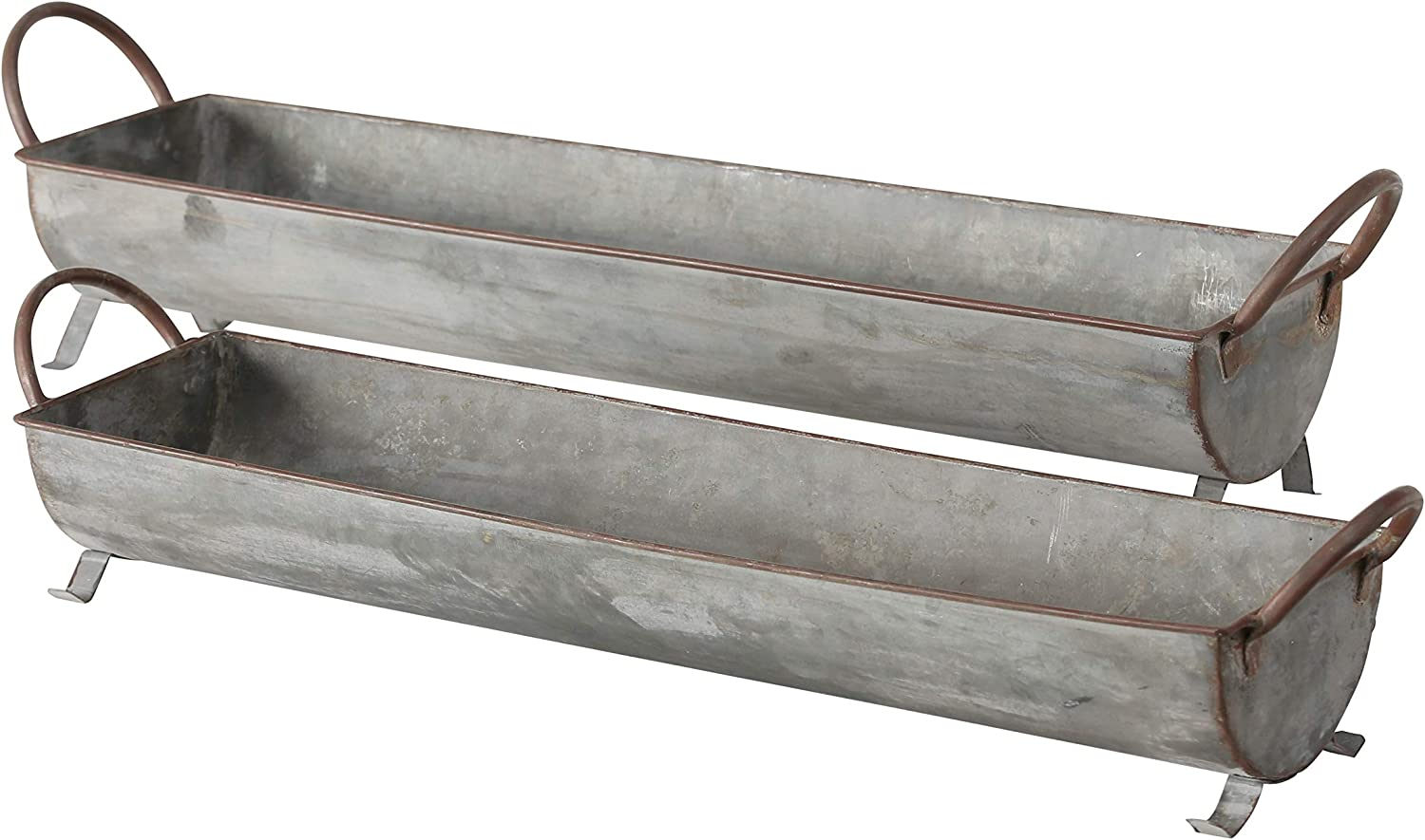 WHW Whole House Worlds Farmer's Market Galvanized Metal Basket Tray Planters, Set of 2, Long Trough Shaped, Zinc, 28 and 25 Inches, for Container Gardens