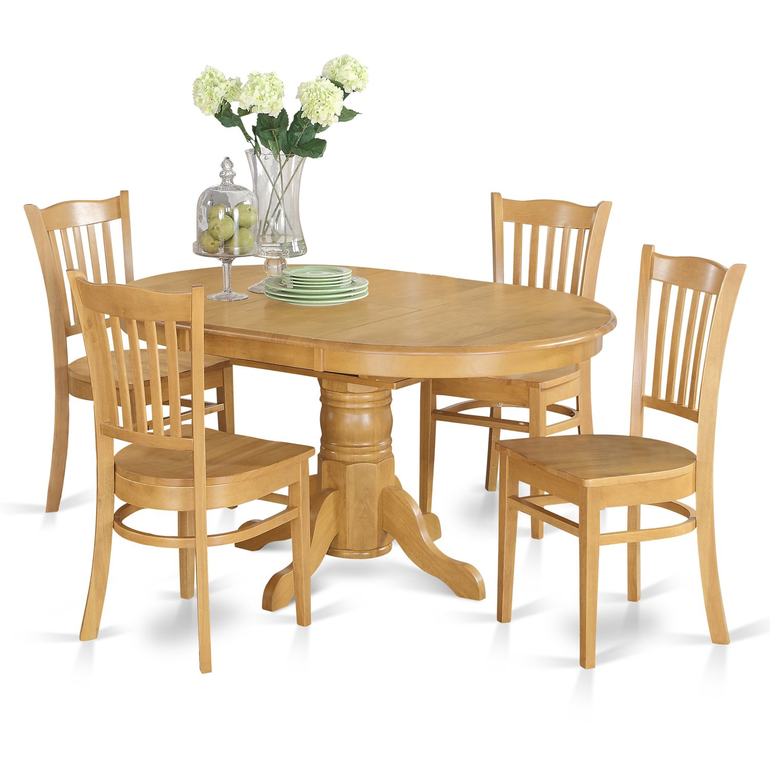 AVGR5-OAK-W 5 Pc Dining room set for 4- Table with Leaf and 4 Dining Chairs.