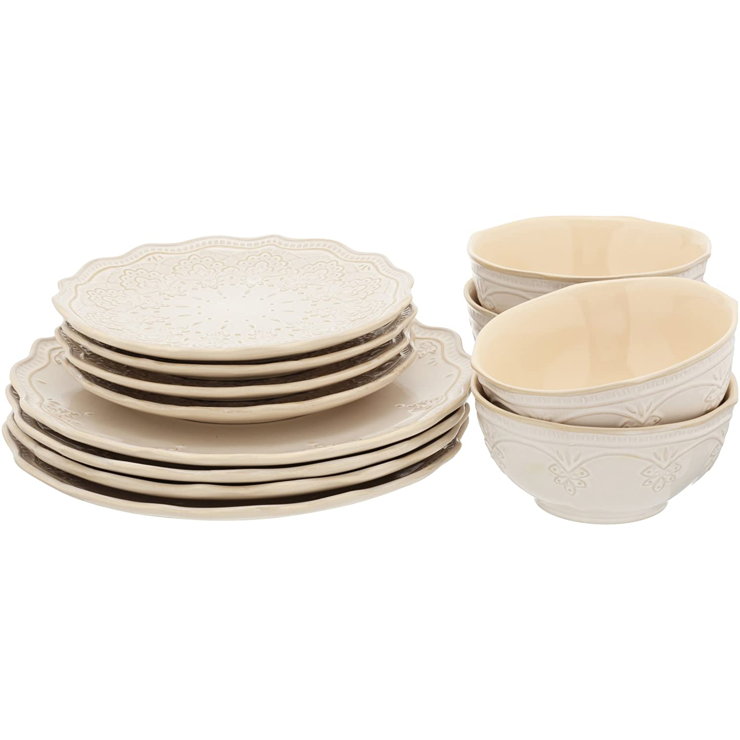 The Pioneer Woman Farmhouse Lace Dinnerware Set, 12-Piece - Linen By The Pioneer Woman 111254.12R