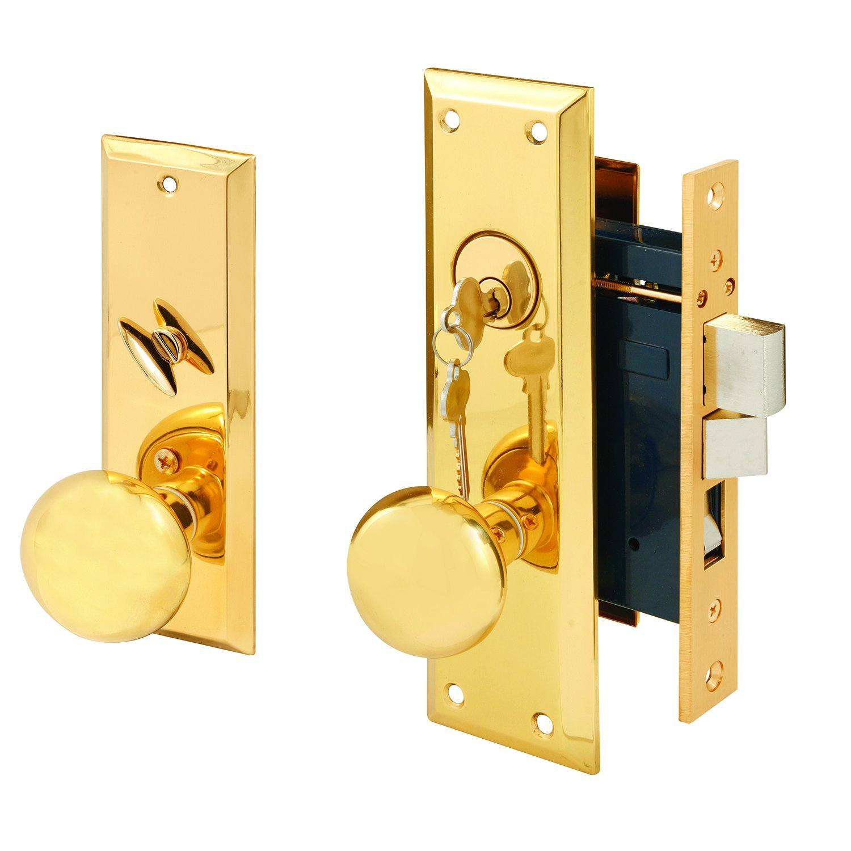 Segal SE 26000 Wrought Solid Brass Entrance Mortise Lockset with 2-1/2'' Backset, Polished Finish