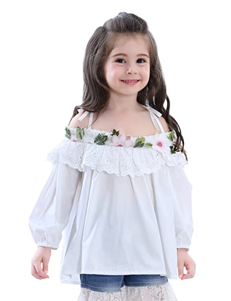 tortoiserabbit Baby Girls Long Sleeve Cold Shoulder White Tops Flowers Appliques Autumn Slip T Shirt 2T