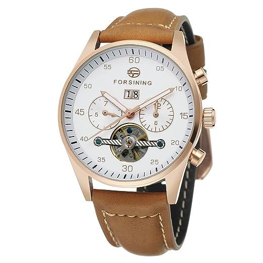 Reloj de pulsera Forsining, automático, con exhibidor de fecha, correa de cuero, colección FSG691M3W1: Amazon.es: Relojes