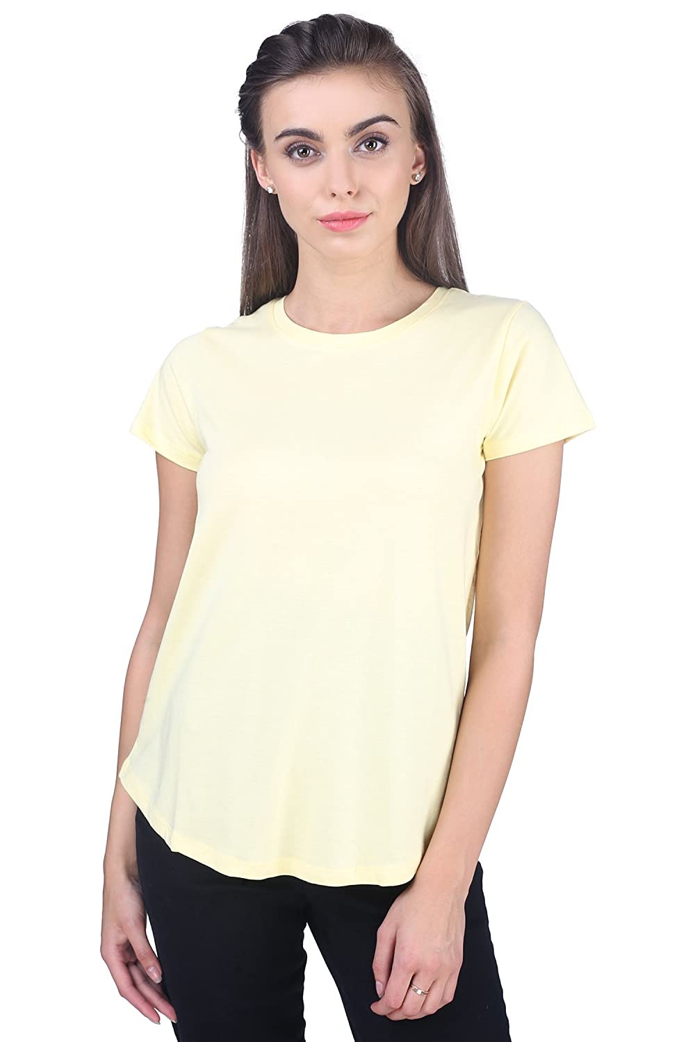 6f45fe19fa CottonWorld Women s T-Shirt (L-Tshirt-11670-17780-Yellow L Yellow Large)   Amazon.in  Clothing   Accessories