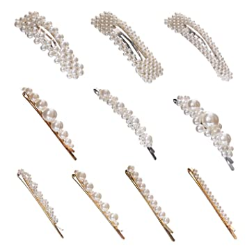 10pcs Pearl Hair Clips For Women Girls Fashion Sweet Artificial Pearl Alligator Clips Barrettes Bobby