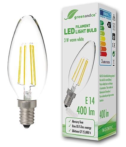 Bombilla de filamento LED greenandco® E14 / 3W (corresponde a 35W) / 400lm