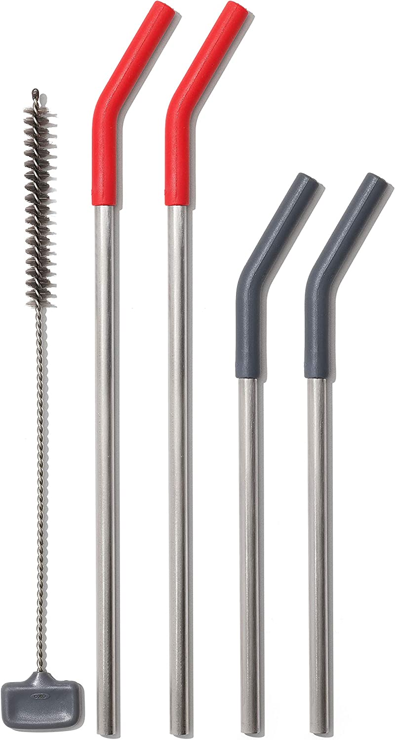 OXO Good Grips Stainless Steel 5 Piece Reusable Straw Set - Red/Gray