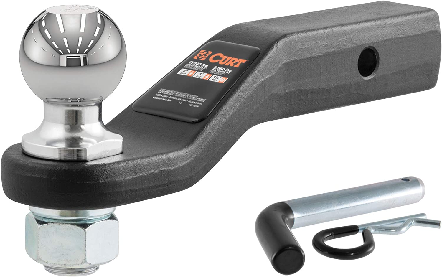 CURT 45331 Trailer Hitch Ball Mount with 2-5/16-Inch Trailer Ball & Hitch Pin, Fits 2-Inch Receiver, 17,000 lbs. GTW, 2-Inch Drop