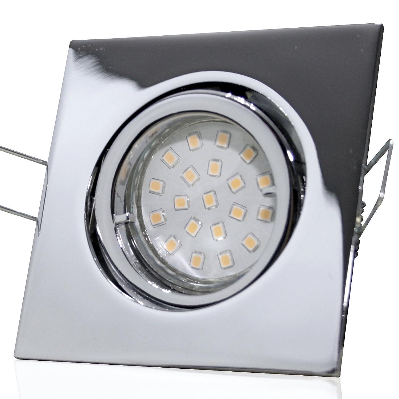 5 Stück SMD LED Einbauleuchte Luisa 230 Volt 3 Watt Schwenkbar Chrom Neutralweiß