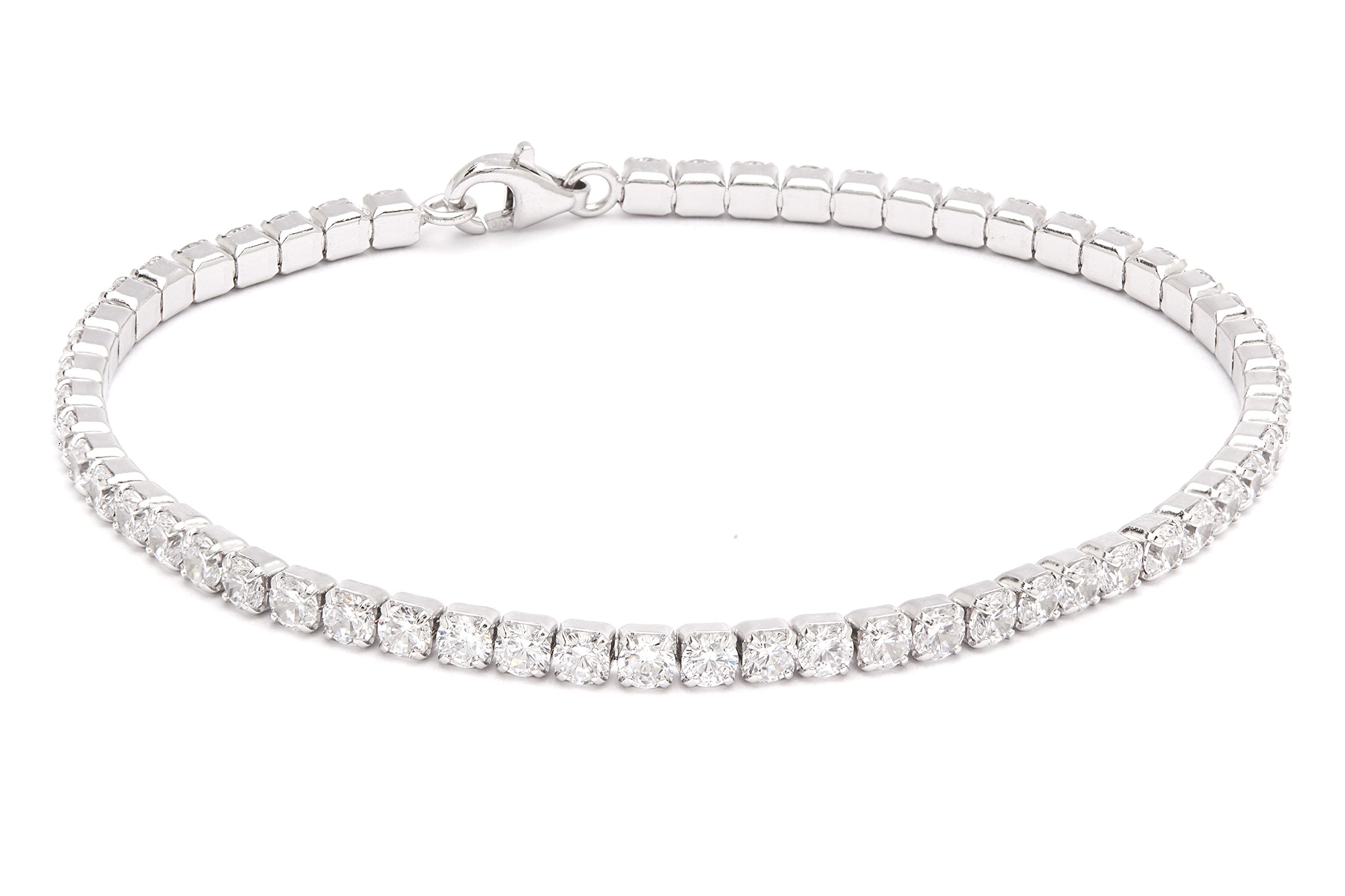 Quality Jewels Sterling Silver 2.5MM Round Cubic White Cubic Zirconia Tennis Bracelet In Rhodium & Gold Plated, 7.5 Inches (White)