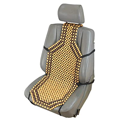 "ObboMed SW-7210 4"" Higher Shoulder Back for Better Ventilation & Massage Natural Wooden Beaded Car Seat Cover, with Durable Nylon String & Secure Fitting - Size : 50.4"" x 15.4"" / 132 x 38.5 cm: Automotive"