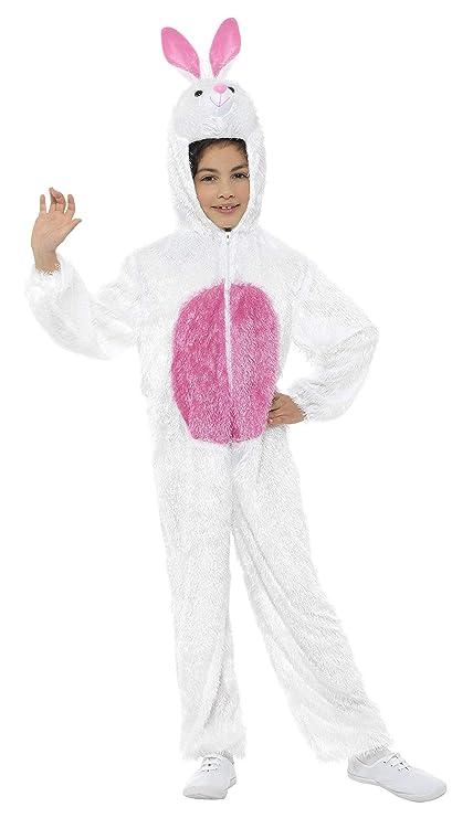 Smiffys Smiffys-30016 Animal Disfraz de Conejo, Incluye Enterizo con Capucha, Color Blanco, M - Edad 7-9 años 30016