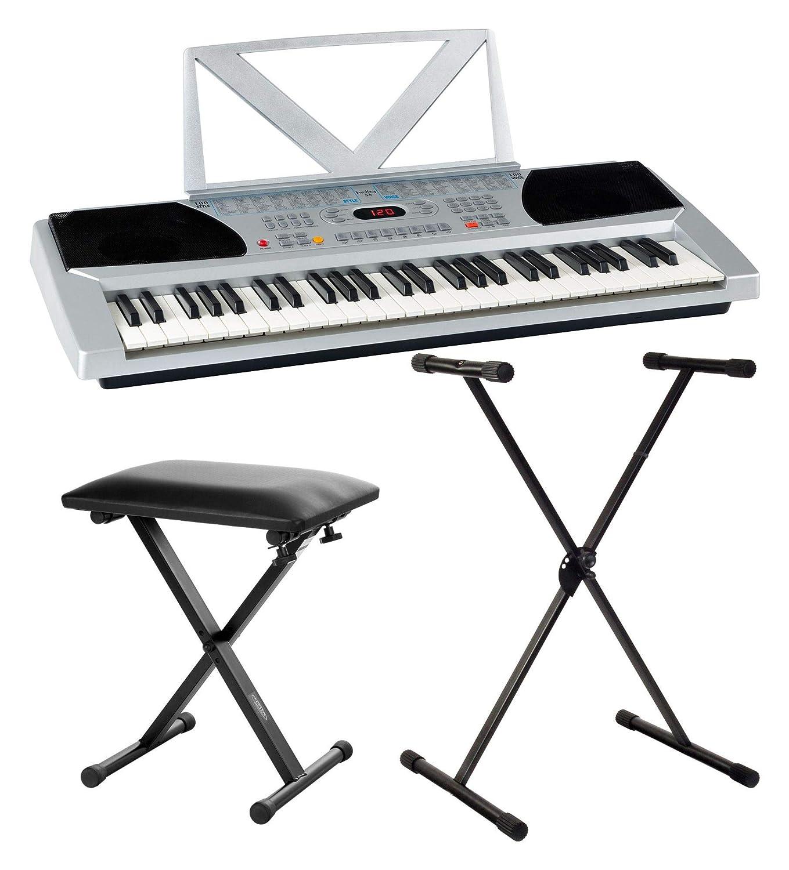 Set de teclado FunKey 54 en plateado con soporte y banco: Amazon.es: Instrumentos musicales