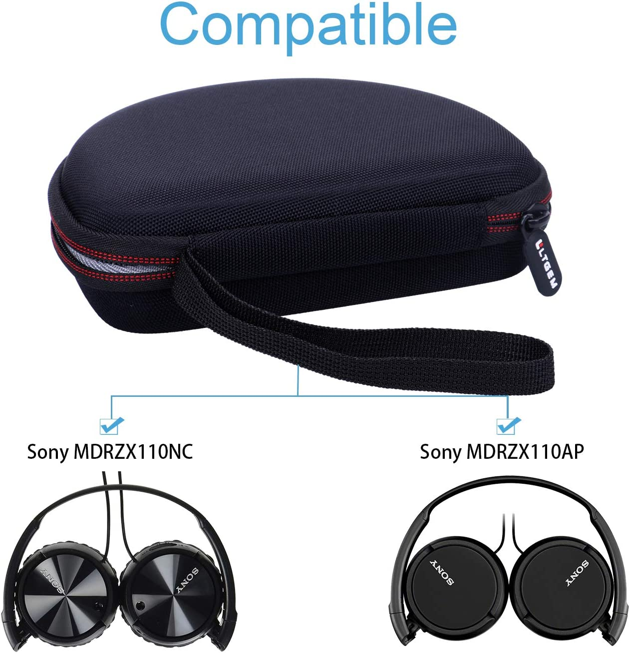 LTGEM EVA Hard Case for Sony MDRZX110NC /& MDRZX110AP Noise Cancelling Headphones Travel Protective Carrying Storage Bag