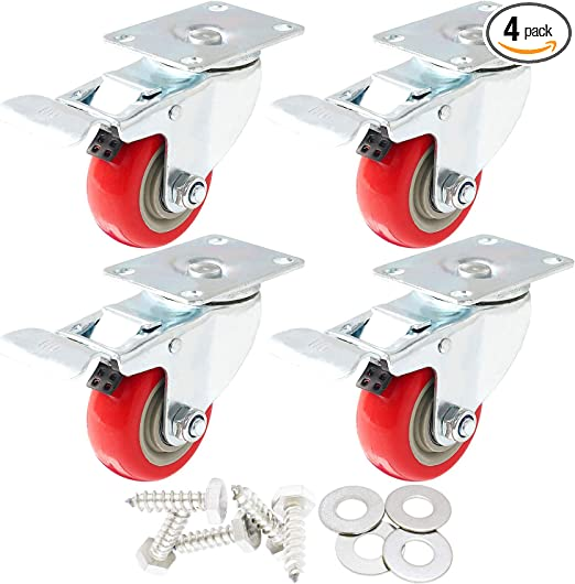 """4 pack of Plate Casters 4/"""" Polyurethane Wheels All Swivel w// total lock"""
